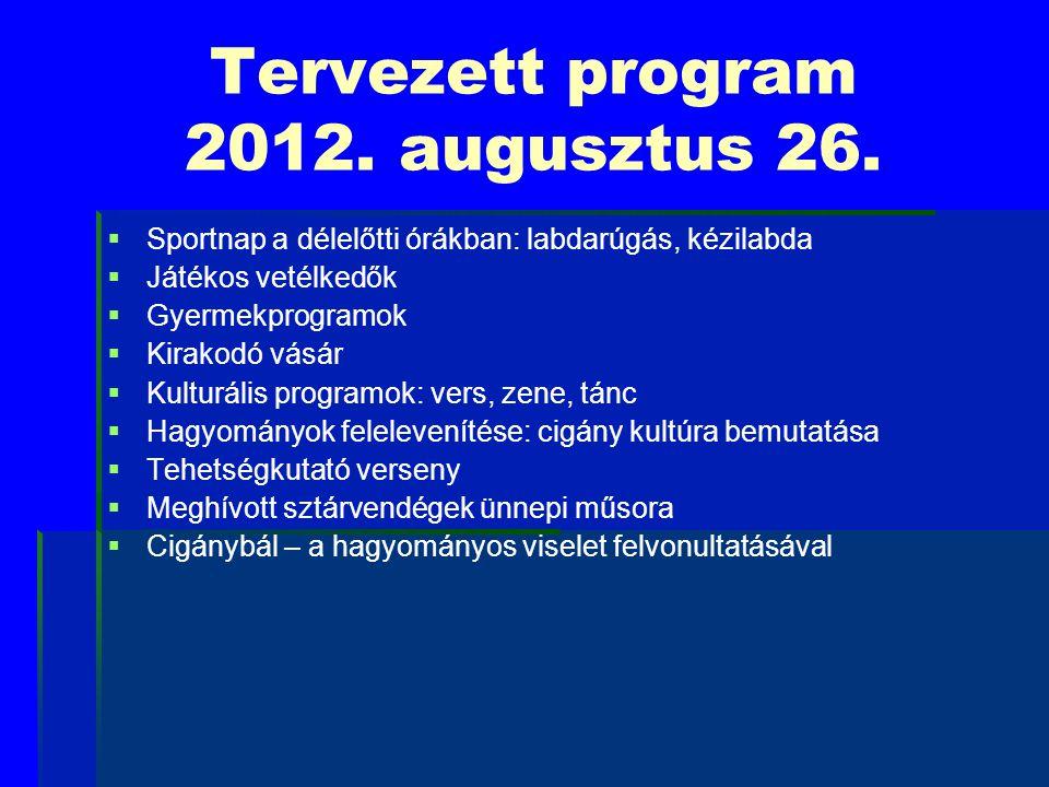 Tervezett program 2012. augusztus 26.