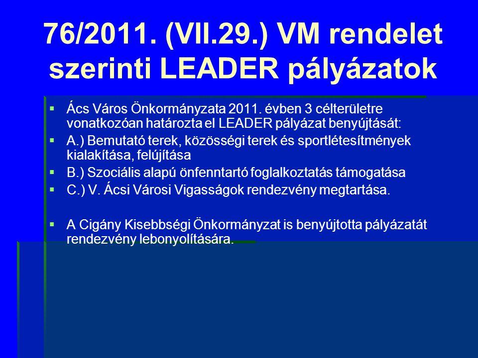 76/2011. (VII.29.) VM rendelet szerinti LEADER pályázatok
