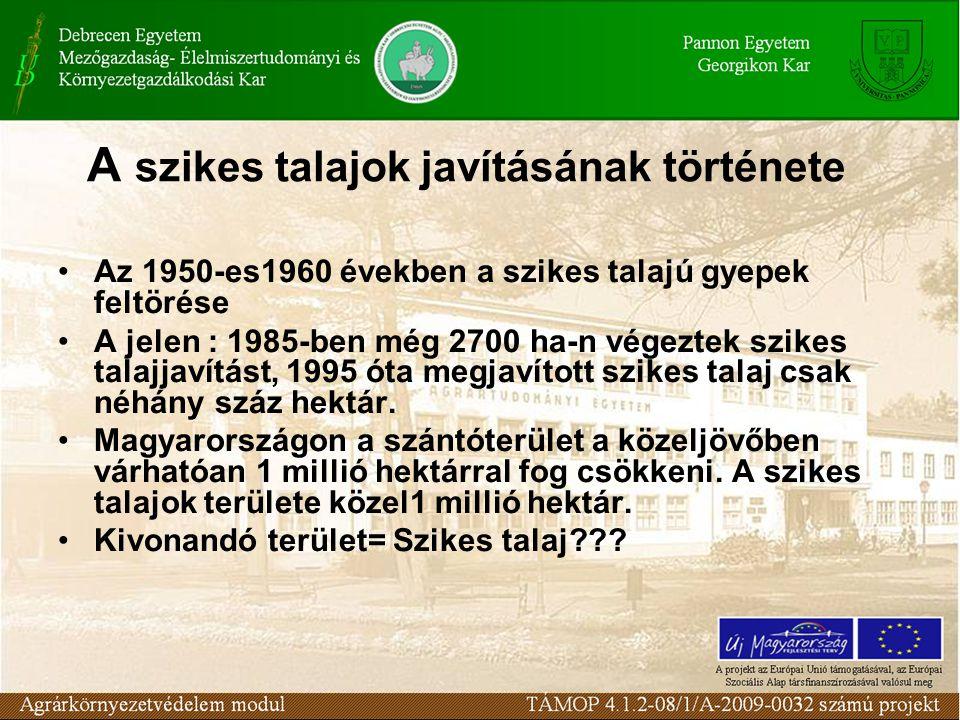 A szikes talajok javításának története