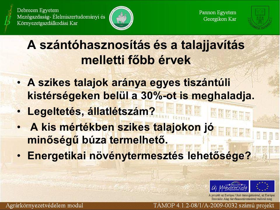A szántóhasznosítás és a talajjavítás melletti főbb érvek