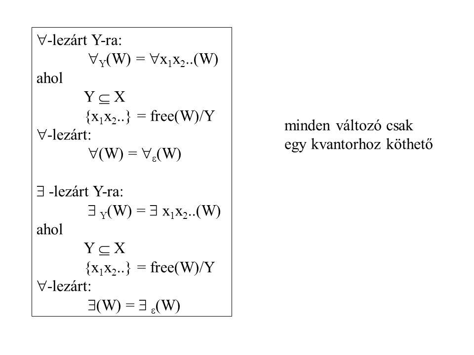 -lezárt Y-ra: Y(W) = x1x2..(W) ahol. Y  X. {x1x2..} = free(W)/Y. -lezárt: (W) = (W)  -lezárt Y-ra: