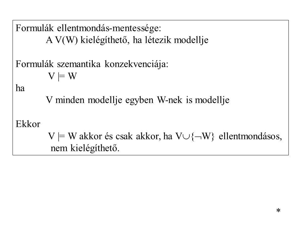 Formulák ellentmondás-mentessége: