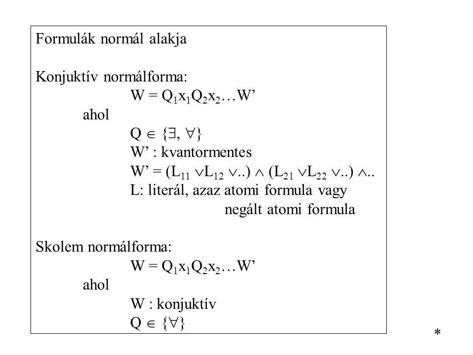 Formulák normál alakja