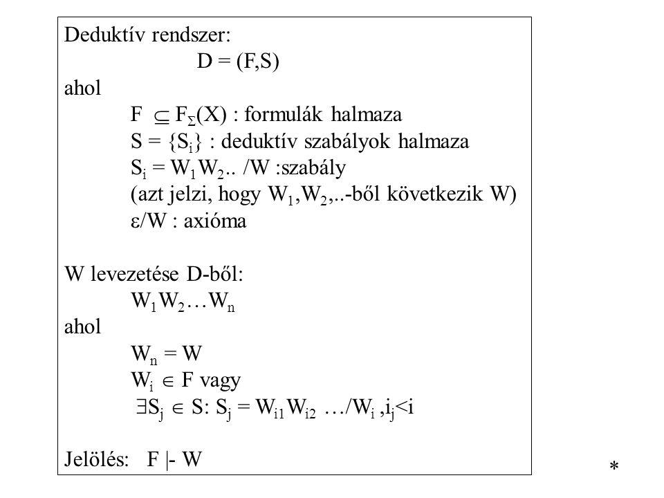 Deduktív rendszer: D = (F,S) ahol. F  F(X) : formulák halmaza. S = {Si} : deduktív szabályok halmaza.