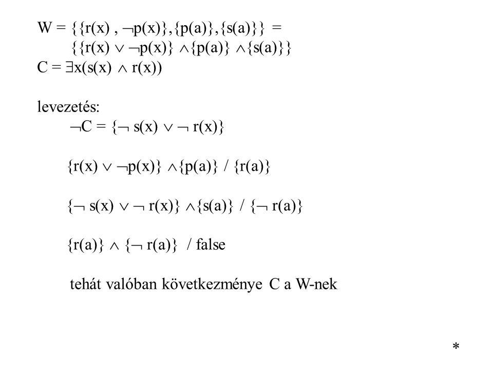 W = {{r(x) , p(x)},{p(a)},{s(a)}} =
