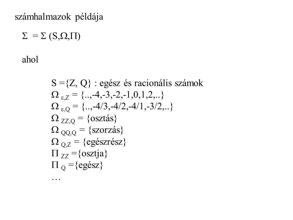 számhalmazok példája  =  (S,,) ahol. S ={Z, Q} : egész és racionális számok.  ,Z = {..,-4,-3,-2,-1,0,1,2,..}
