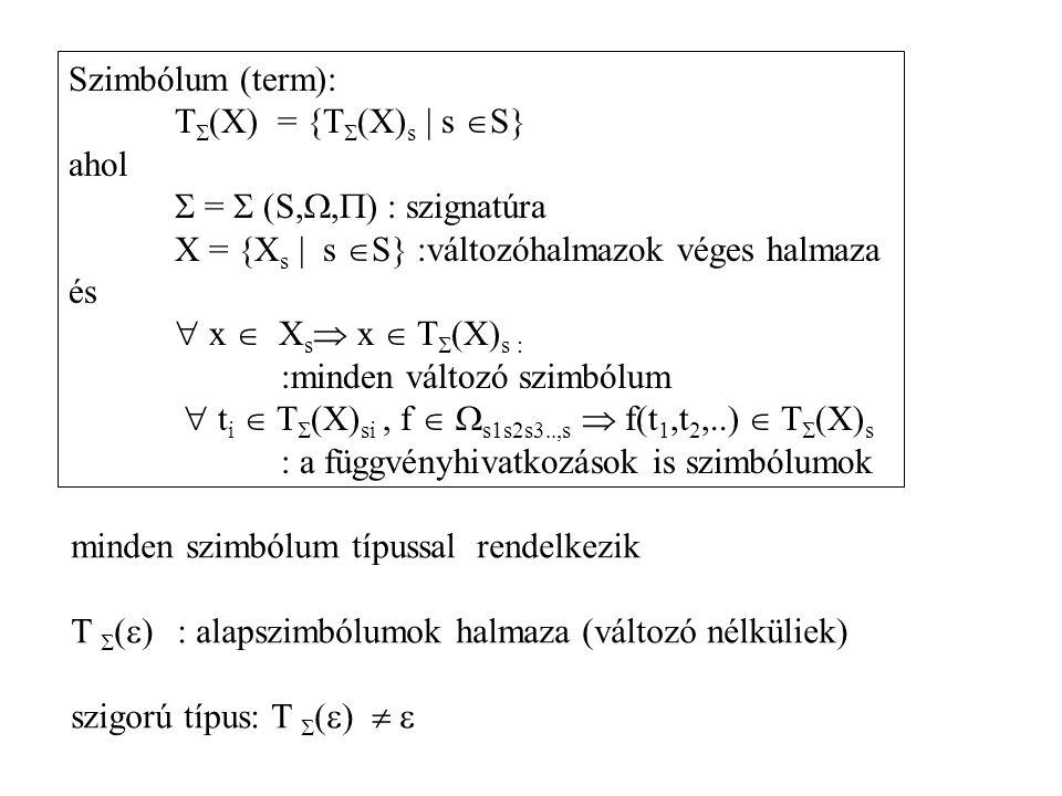 Szimbólum (term): T(X) = {T(X)s | s S} ahol.  =  (S,,) : szignatúra. X = {Xs | s S} :változóhalmazok véges halmaza.