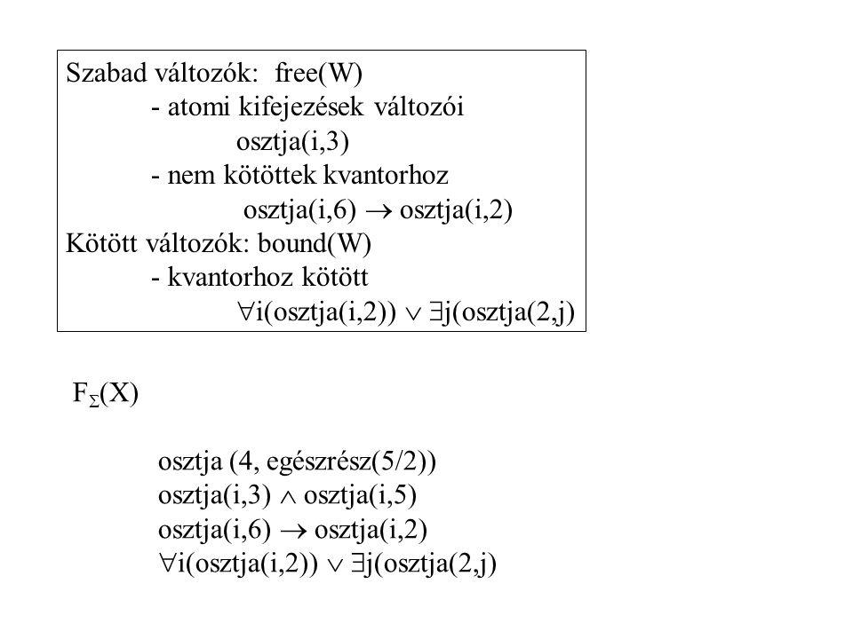 Szabad változók: free(W)