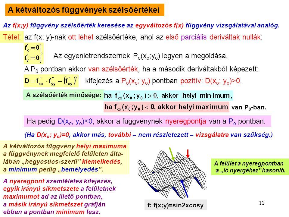 A kétváltozós függvények szélsőértékei