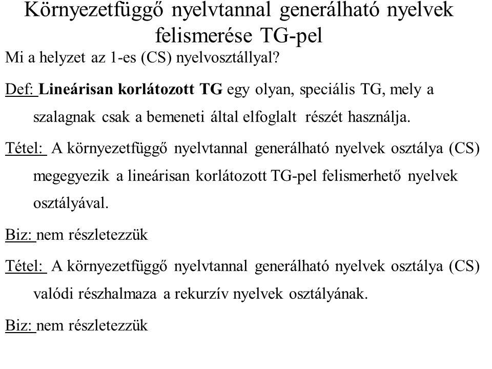 Környezetfüggő nyelvtannal generálható nyelvek felismerése TG-pel