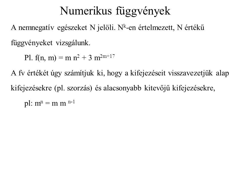 Numerikus függvények A nemnegatív egészeket N jelöli. Nk-en értelmezett, N értékű. függvényeket vizsgálunk.