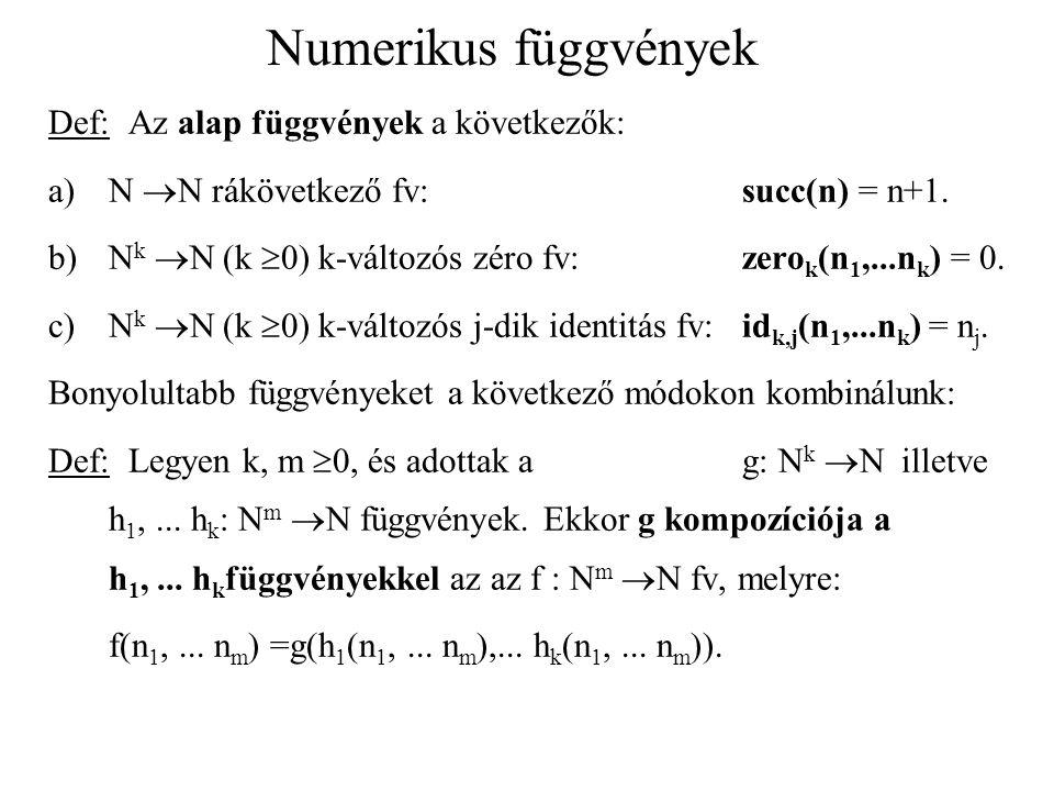 Numerikus függvények Def: Az alap függvények a következők: