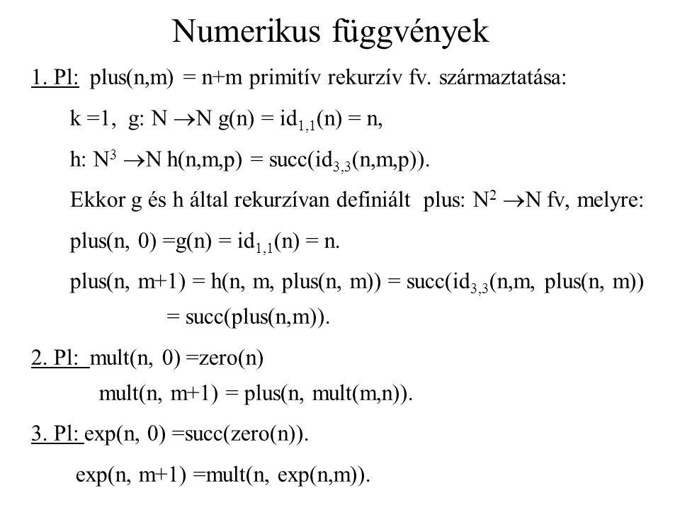 Numerikus függvények 1. Pl: plus(n,m) = n+m primitív rekurzív fv. származtatása: k =1, g: N N g(n) = id1,1(n) = n,