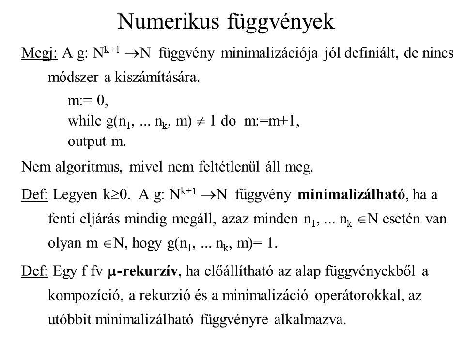 Numerikus függvények Megj: A g: Nk+1 N függvény minimalizációja jól definiált, de nincs módszer a kiszámítására.