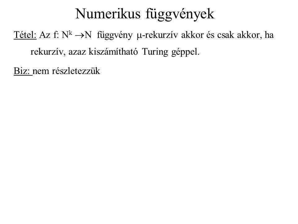 Numerikus függvények Tétel: Az f: Nk N függvény m-rekurzív akkor és csak akkor, ha rekurzív, azaz kiszámítható Turing géppel.
