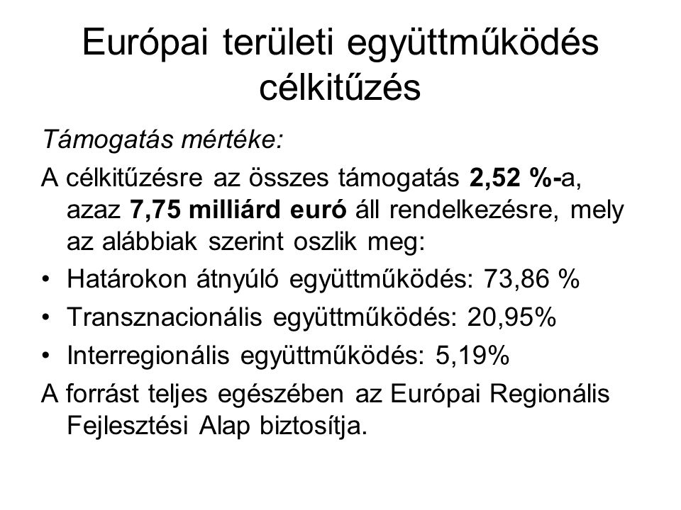 Európai területi együttműködés célkitűzés