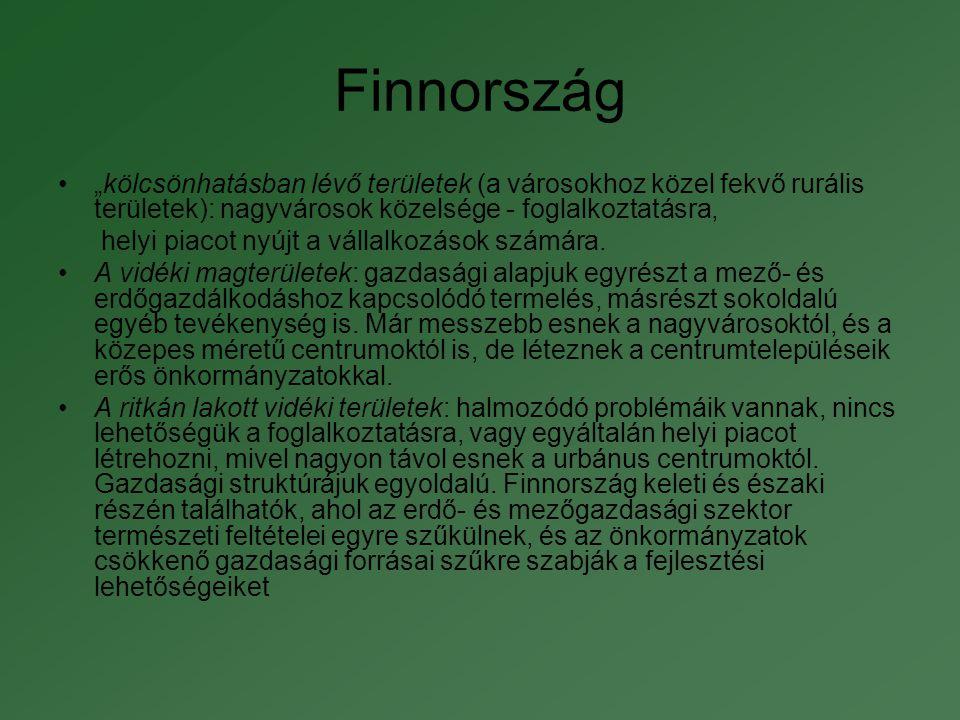 """Finnország """"kölcsönhatásban lévő területek (a városokhoz közel fekvő rurális területek): nagyvárosok közelsége - foglalkoztatásra,"""