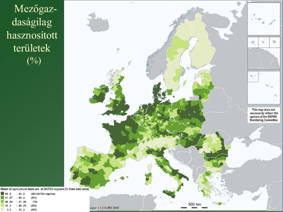 Mezőgaz- daságilag hasznosított területek (%)
