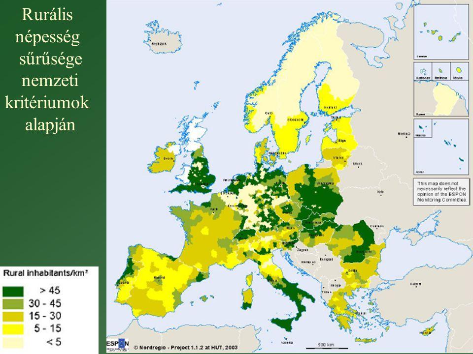 Rurális népesség sűrűsége nemzeti kritériumok alapján
