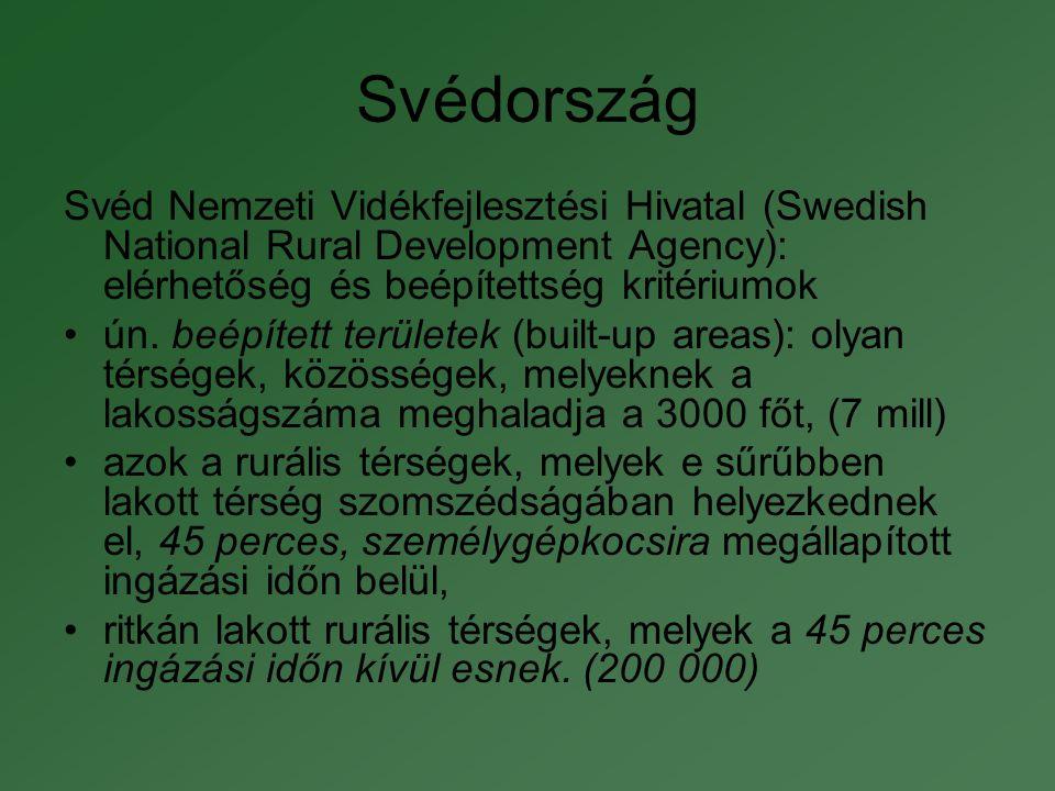 Svédország Svéd Nemzeti Vidékfejlesztési Hivatal (Swedish National Rural Development Agency): elérhetőség és beépítettség kritériumok.