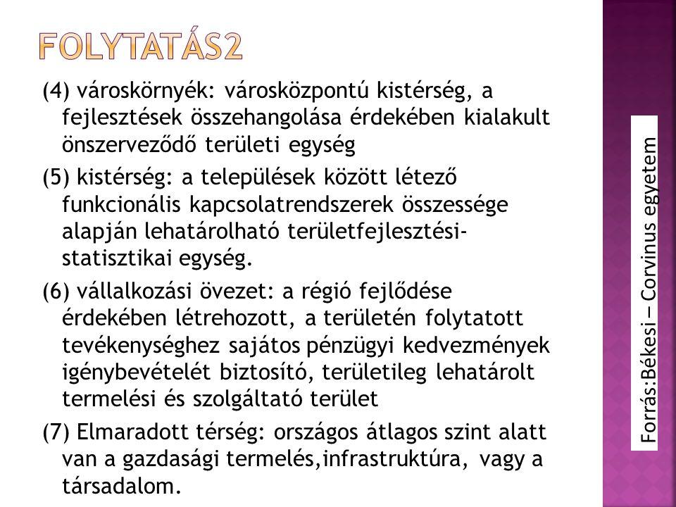 folytatás2 (4) városkörnyék: városközpontú kistérség, a fejlesztések összehangolása érdekében kialakult önszerveződő területi egység.