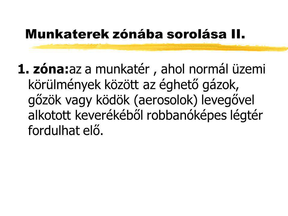 Munkaterek zónába sorolása II.