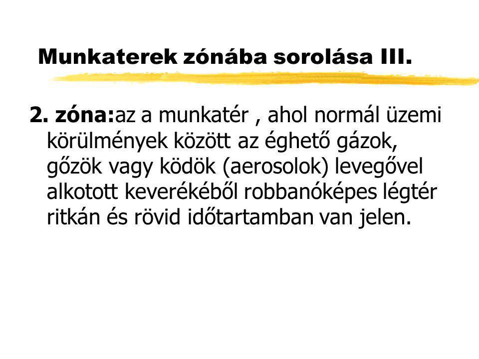 Munkaterek zónába sorolása III.