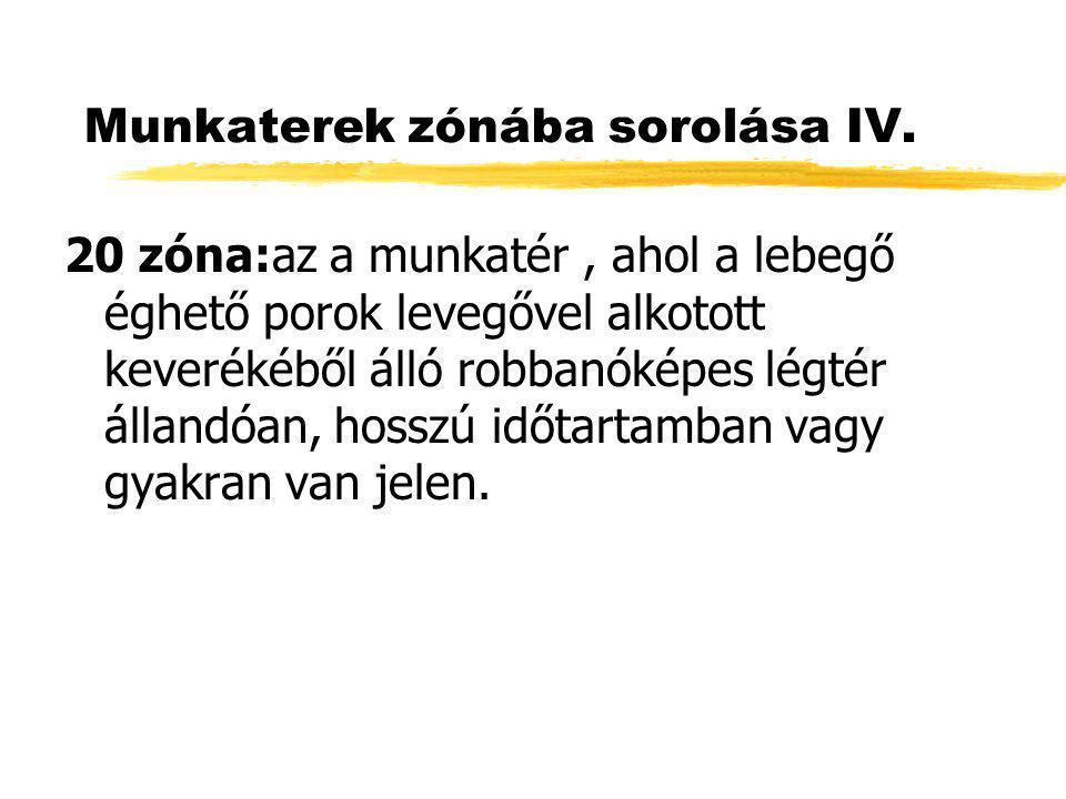 Munkaterek zónába sorolása IV.