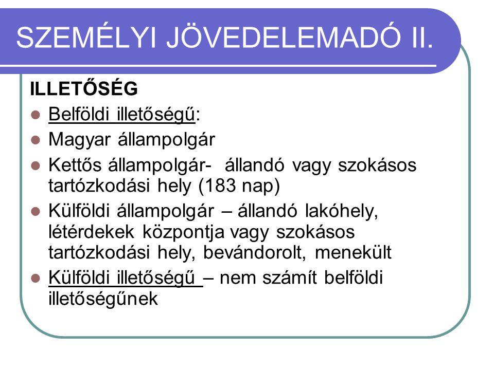 SZEMÉLYI JÖVEDELEMADÓ II.