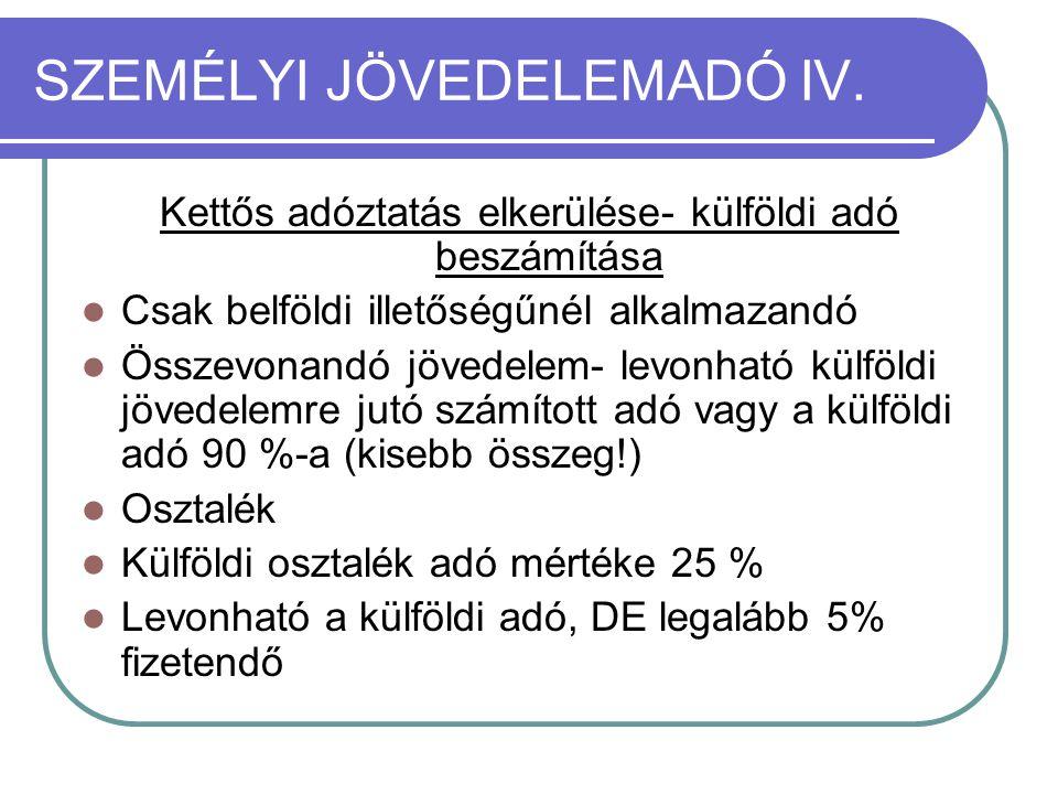 SZEMÉLYI JÖVEDELEMADÓ IV.