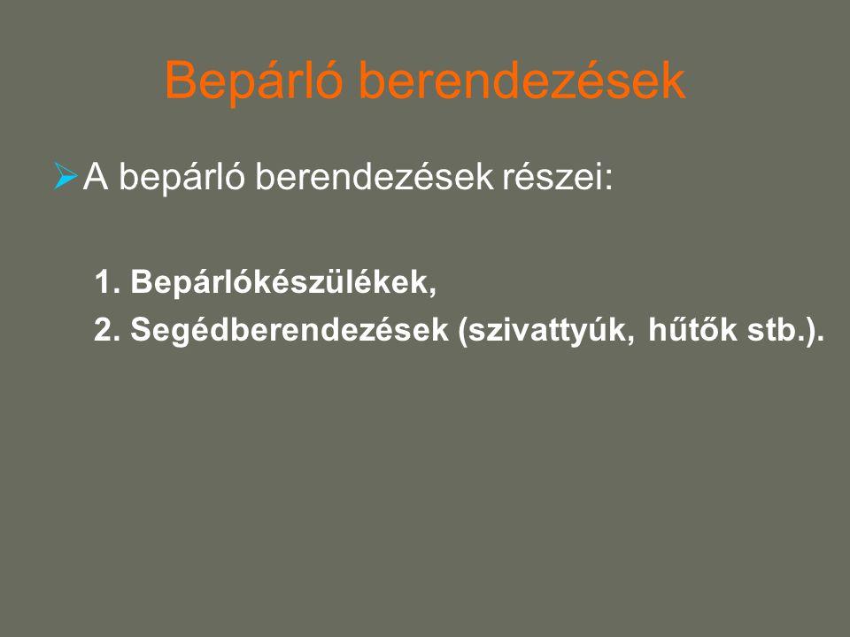 Bepárló berendezések A bepárló berendezések részei: