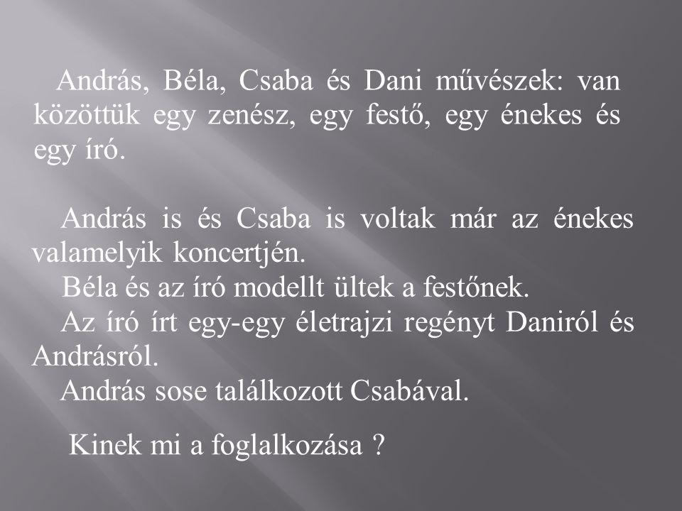 András, Béla, Csaba és Dani művészek: van közöttük egy zenész, egy festő, egy énekes és egy író.