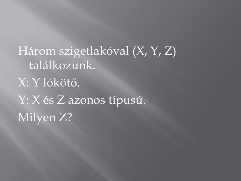 Három szigetlakóval (X, Y, Z) találkozunk. X: Y lókötő