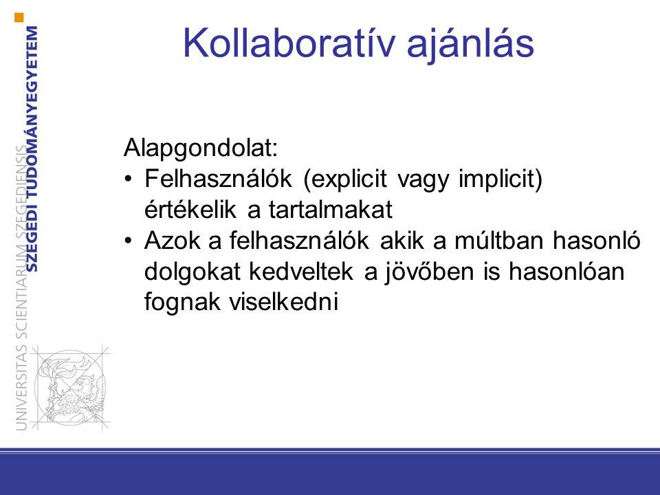 Kollaboratív ajánlás Alapgondolat: