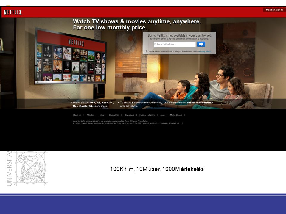 100K film, 10M user, 1000M értékelés