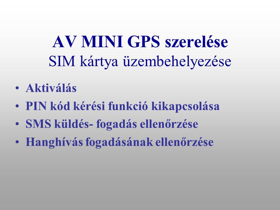 AV MINI GPS szerelése SIM kártya üzembehelyezése