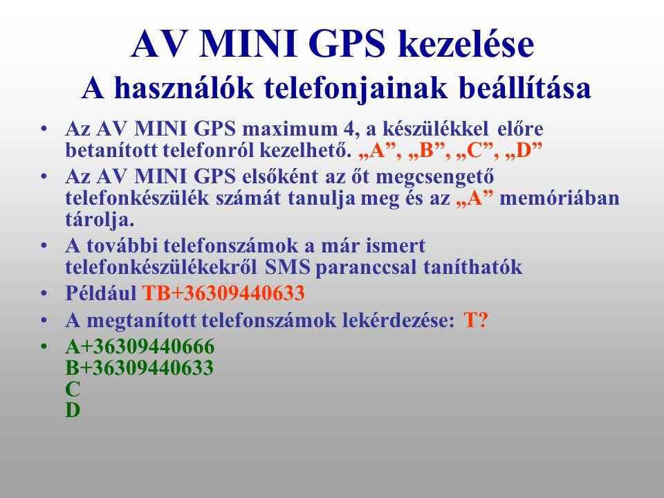 AV MINI GPS kezelése A használók telefonjainak beállítása