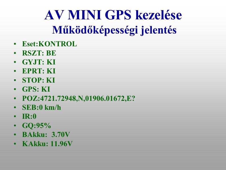 AV MINI GPS kezelése Működőképességi jelentés