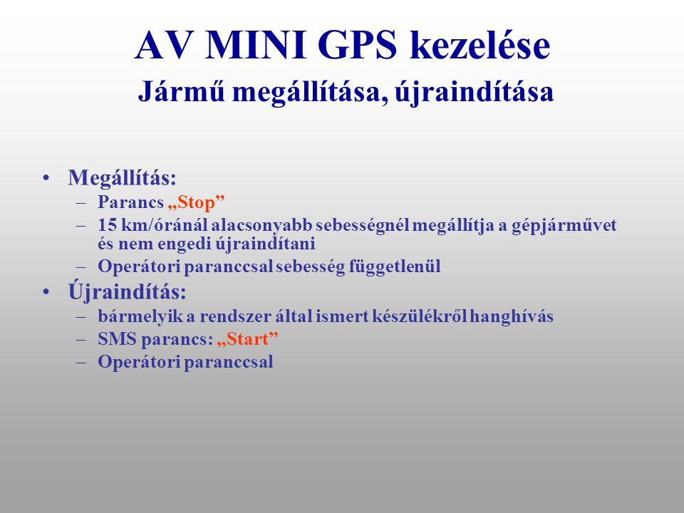AV MINI GPS kezelése Jármű megállítása, újraindítása