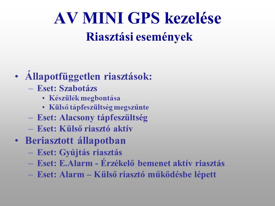 AV MINI GPS kezelése Riasztási események
