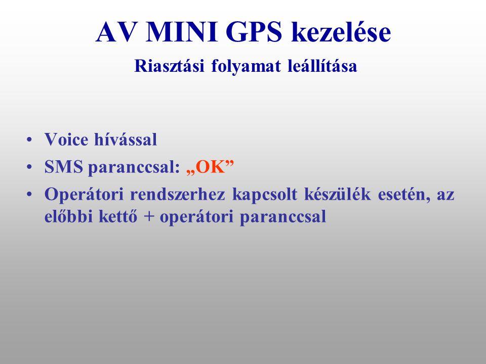AV MINI GPS kezelése Riasztási folyamat leállítása