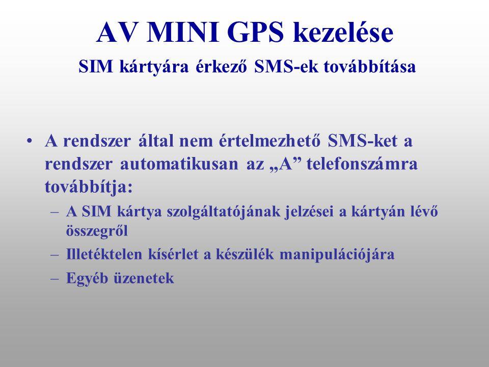 AV MINI GPS kezelése SIM kártyára érkező SMS-ek továbbítása