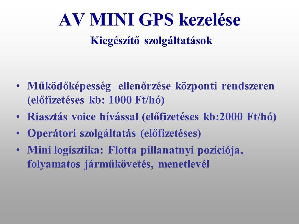 AV MINI GPS kezelése Kiegészítő szolgáltatások