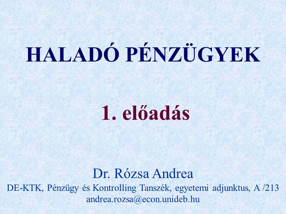 HALADÓ PÉNZÜGYEK 1. előadás