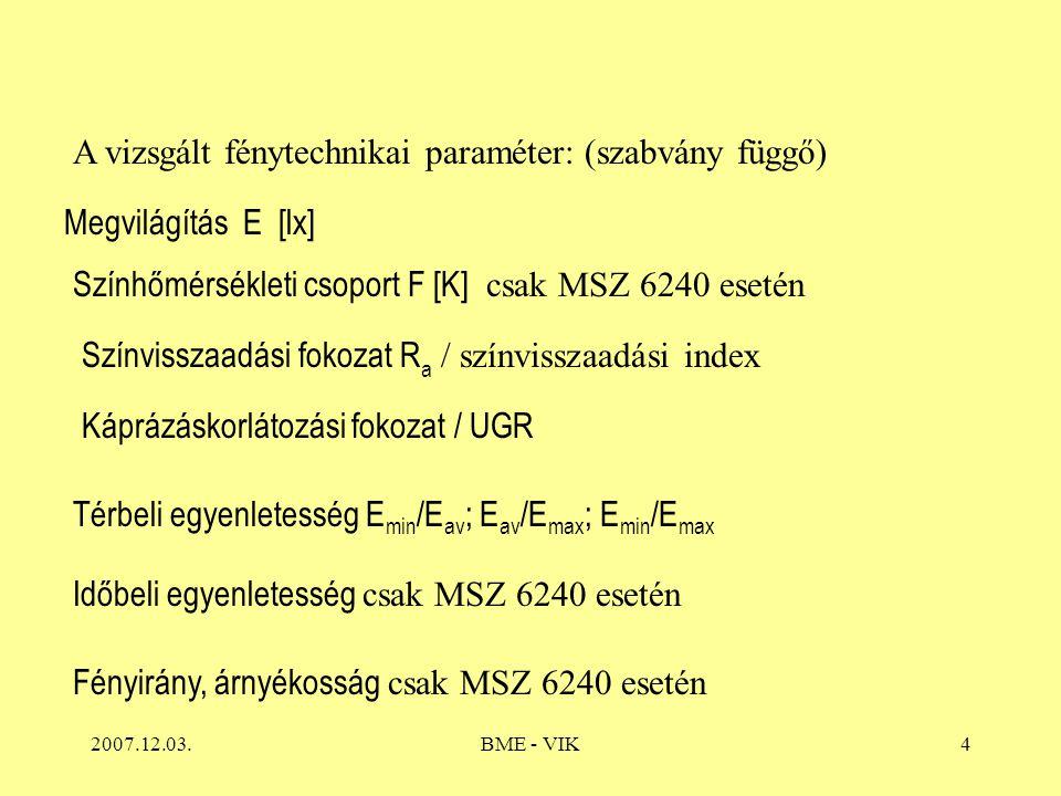 A vizsgált fénytechnikai paraméter: (szabvány függő)