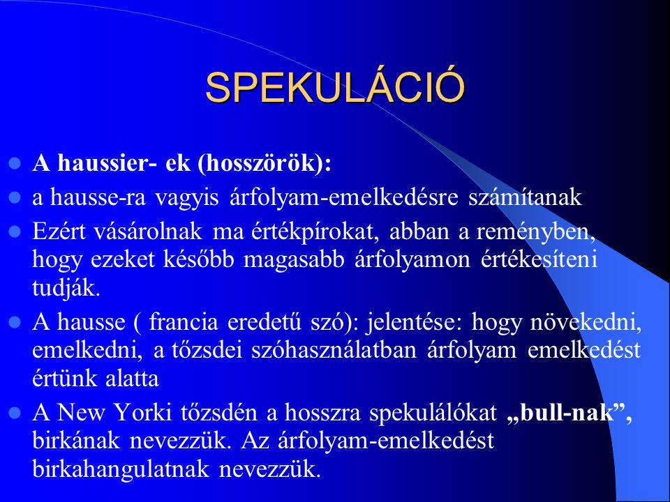 SPEKULÁCIÓ A haussier- ek (hosszörök):