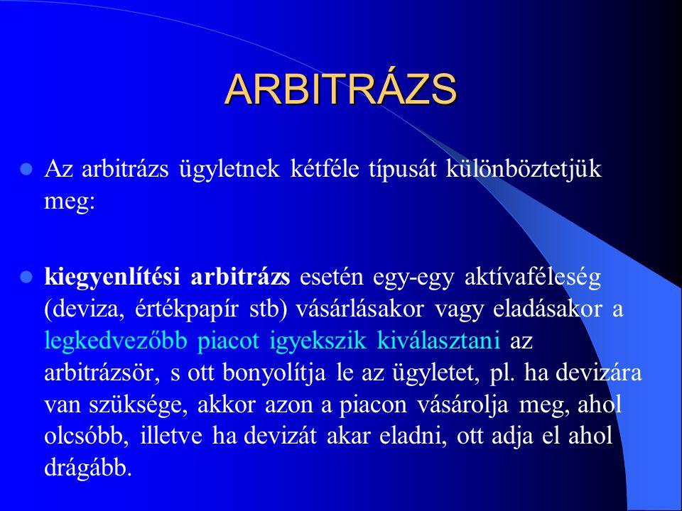 ARBITRÁZS Az arbitrázs ügyletnek kétféle típusát különböztetjük meg: