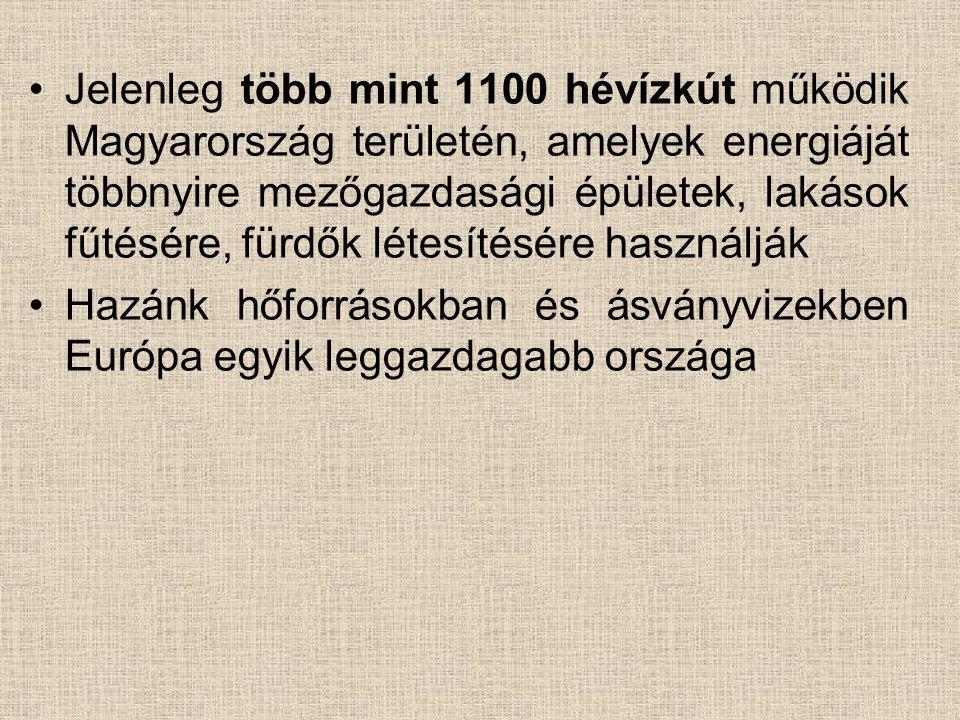 Jelenleg több mint 1100 hévízkút működik Magyarország területén, amelyek energiáját többnyire mezőgazdasági épületek, lakások fűtésére, fürdők létesítésére használják
