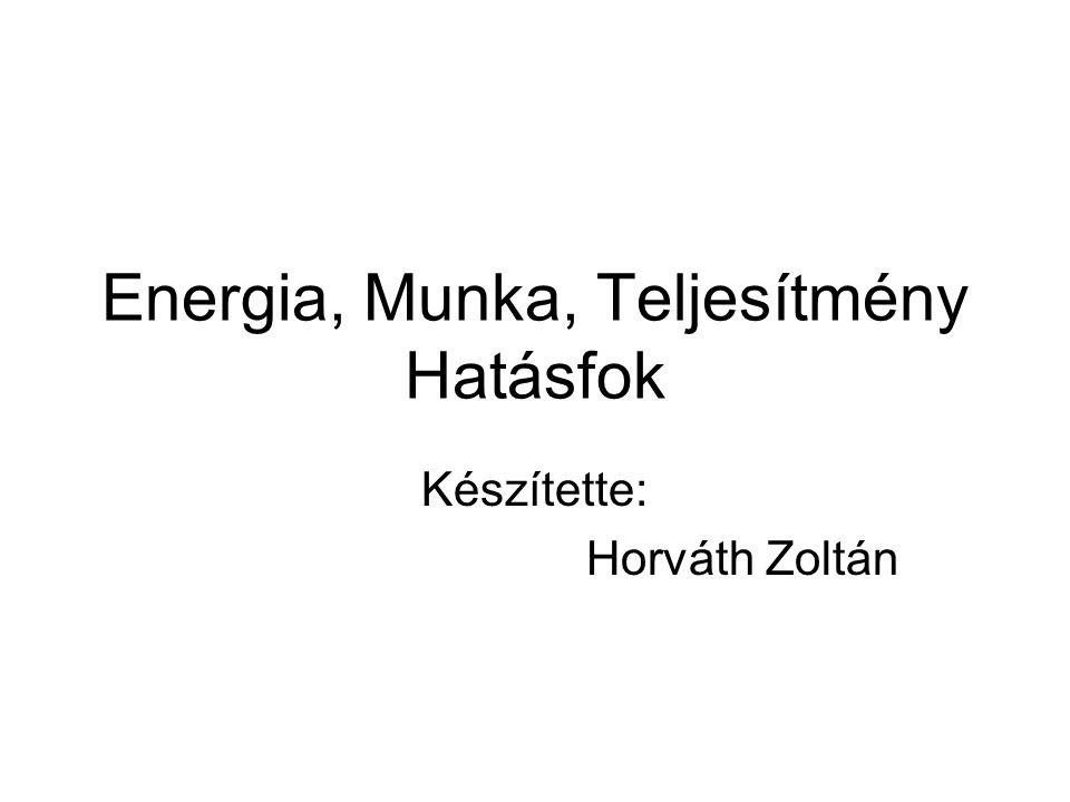 Energia, Munka, Teljesítmény Hatásfok