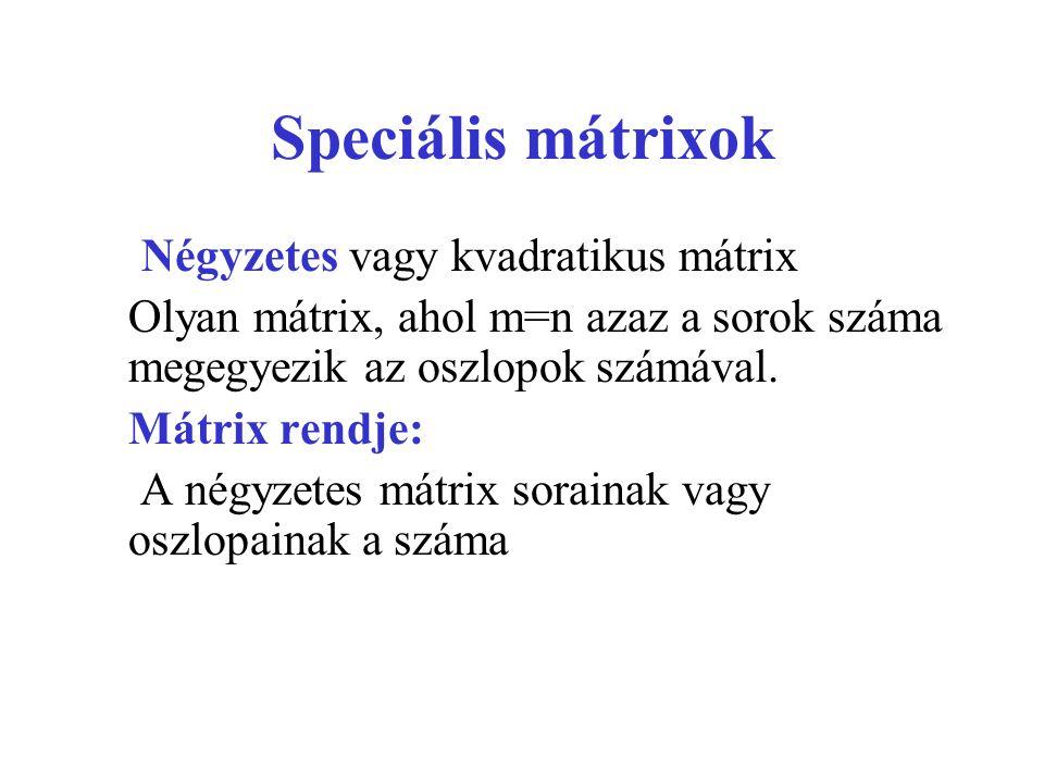 Speciális mátrixok Négyzetes vagy kvadratikus mátrix